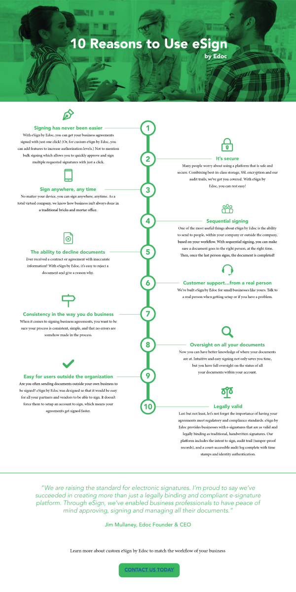 Infographic 10 reasons to use esign